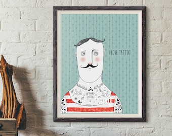 Poster | Illustrated Poster | Wall Decor | Minimal Print Poster | Home Decor | Poster Design | Postcard | Hipster | Tattoo  |  Man