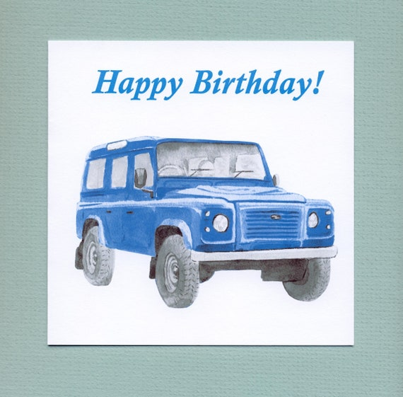 Land Rover Defender Blue Classic Car Birthday Card For Men Etsy