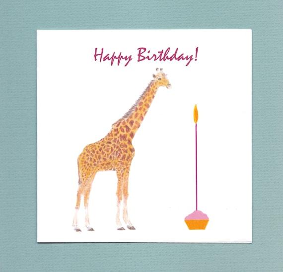 Giraffe Birthday Card Etsy