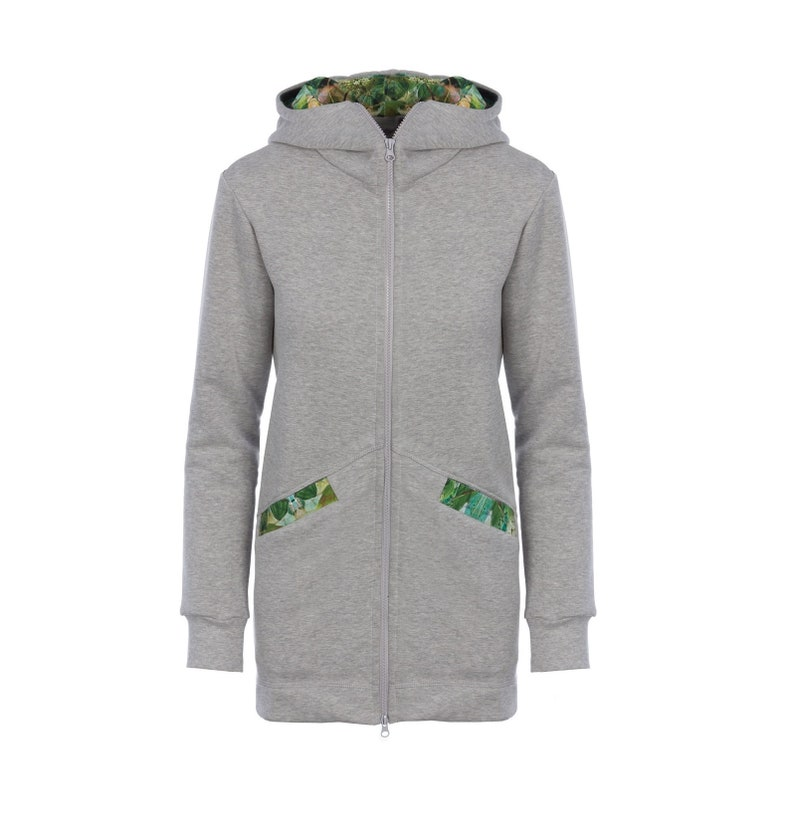 Gray tracksuit zip up hoodie and baggy pants Women/'s activewear Unique clothing Long hooded jacket with pockets and stretchy harem pants