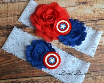 Superhero Wedding garter Thor Garters Super Hero Bridal Garter Set Charcoal gray garters Garters Thor Red Garter Belt Avengers Garters