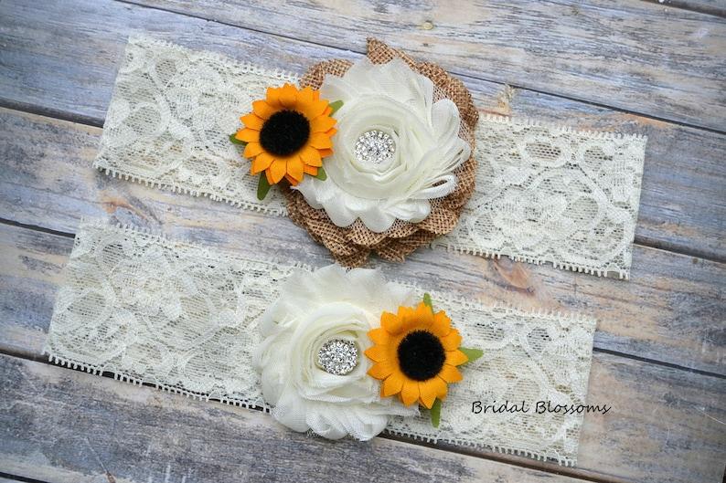 Wood Rustic Country Wedding Stretch Lace Chiffon Fabric Flower Garters Plus Size Ivory Tan Burlap Bridal Garter Set