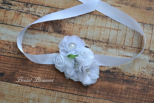 White Chiffon Satin Flower Wrist Corsage | Vintage Inspired Wedding | Mother of the Bride | Bridal Shower | Easter | Boutonniere