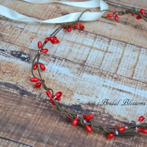 Pip Berries Bridesmaid Crown Ribbon Woodland Berry Wreath Rustic Red Twig Crown Bridal Flower Girl Wedding Halo Boho Hair Accessory
