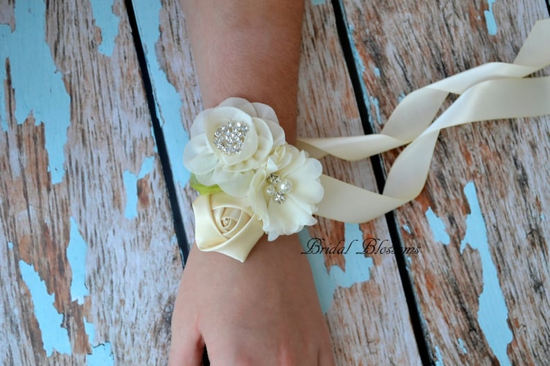 Boutonniere Ivory Cream Chiffon Satin Flower Wrist Corsage Bridal Shower Mother of the Bride Vintage Inspired Wedding Easter