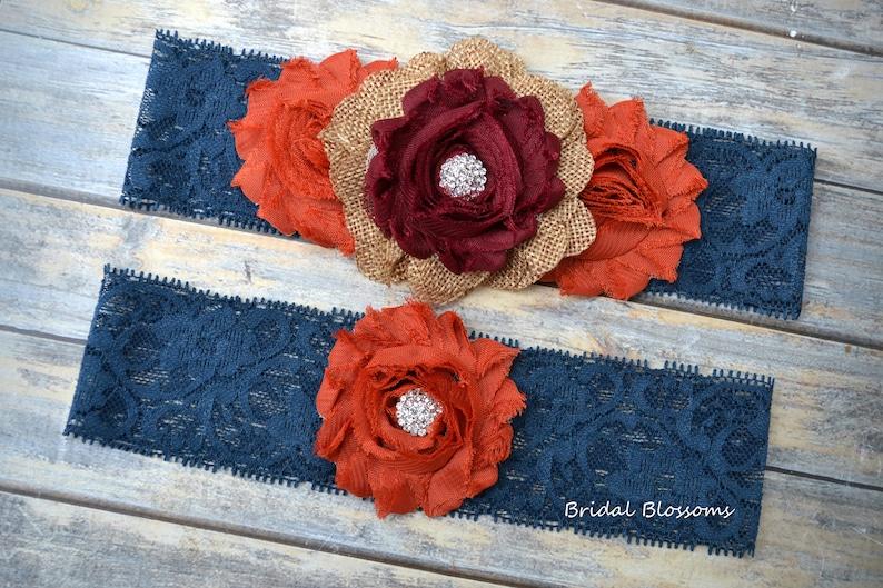 Navy Blue Burnt Orange Burgundy Tan Burlap Bridal Garter Set Wood Rustic Wedding Chiffon Fabric Flower Garters Stretch Lace Plus Size