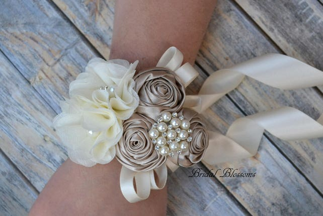 Champagne/Tan Ivory Flower Wrist Corsage & Boutonniere Set | Vintage Inspired Wedding Chiffon Satin Roses Mother of Bride Bridal Shower Prom