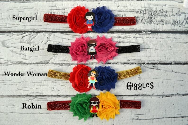 Newborn Flower Elastic Headband Set of 4 Superhero Baby Headbands Chiffon Flowers Photo Prop Batman Robin Wonder Woman Supergirl