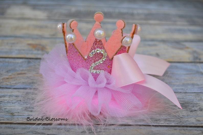 Birthday Glitter Tulle Flower Crown Headband OR Hair Clip Gold Light Pink Bow Glitter Elastic Headband 1st 2nd 3rd 4th Birthday Tiara
