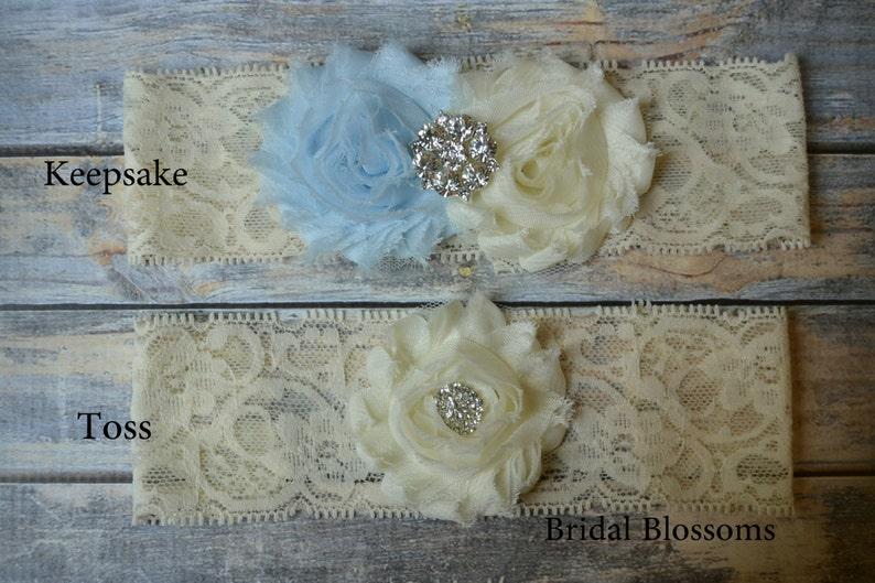Something Blue Ivory Bridal Garter Set Rhinestone Wedding Garter Chiffon Fabric Flower Lace Garter Stretch Lace Garter Plus Size