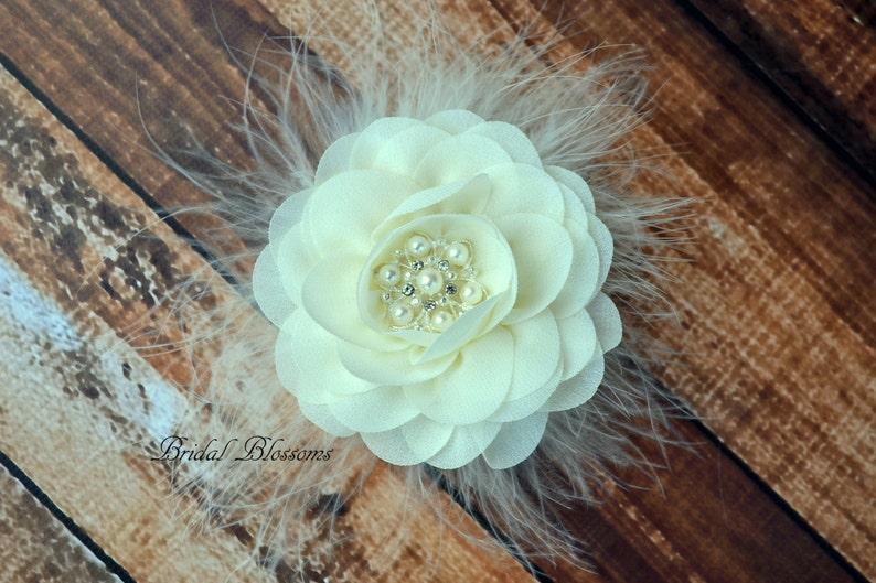 Ivory Chiffon Flower Hair Clip Flower Girl Feathers Pearl Rhinestone Vintage Inspired Bridal Hair Piece Fascinator BEST SELLER