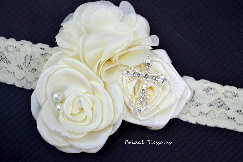 Newborn Baby Lace Headband White Christening Baptism Baby Headband Flower Pearl Rhinestone Cross Headband Photo Prop Flowers