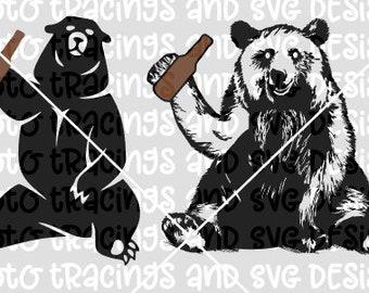 bear holding beer svg