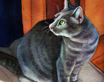 "Grey Cat Watercolor Painting Gray Cat Portrait ""Ann's Dora"""