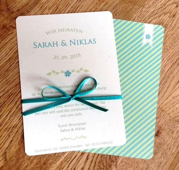 Hochzeitseinladung Fresh Mint Turkis Etsy