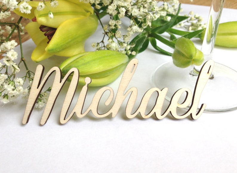 Name lettering name tags table cards wood wood lettering image 0