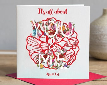 Valentines Day Card - You And Me Card - Personalised Valentines Card  -  Valentine's day -  Personalized Valentines Card