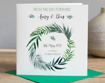 Botanical Wedding Card - Wedding Card - Personalised Wedding Card - Floral Wreath Card - Botanical Card