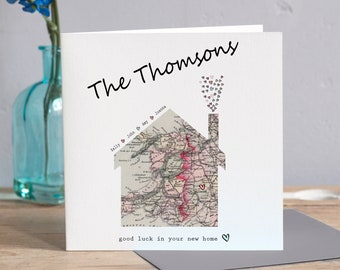 new home card congratulations on your new home card home sweet home card moving card housewarming card new house map card