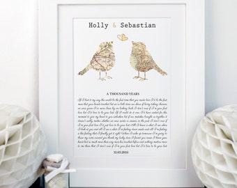 Song Lyrics And Love Birds Map Print