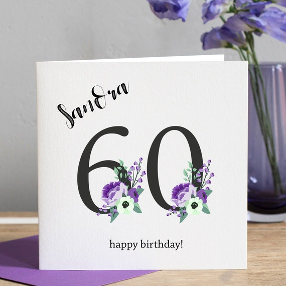 60th Birthday Card Wife Personalised