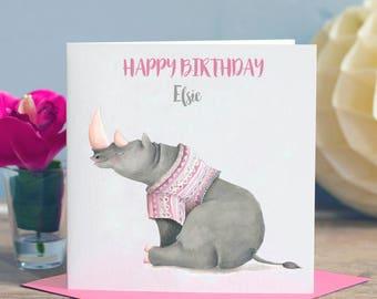 Child's Birthday Card Rhino