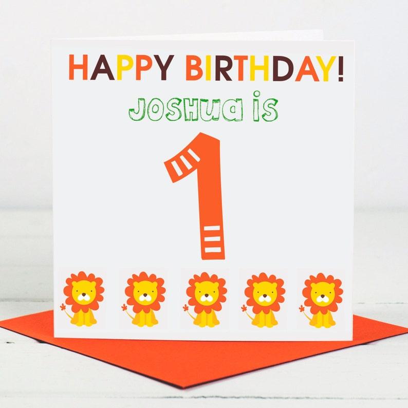 First Birthday Card Personalised 1st Birthday 1st Birthday Card Lion Birthday Card