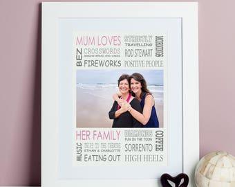 Mum Loves Photo Print - Gift for Mum - Mum Photo Gift - Mother Gift - Grandmother Gift - Custom Mom Print