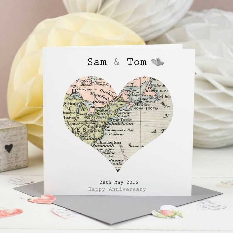 Special Location Map Card   Anniversary Card  Engagement Gray