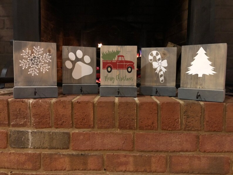 "Christmas Rustic Wood Stocking Holders 8"" x 6"" Decor"