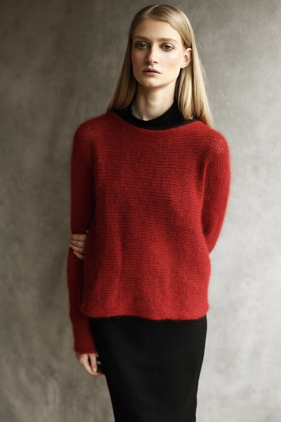 Angora Fluffy Sweater, Top, Pull Over, T Shirt, Jumper, Cardigan Cover Up  Knitted Wool Slash Neck Long Sleeves Hand Made Red Persian Red by Etsy
