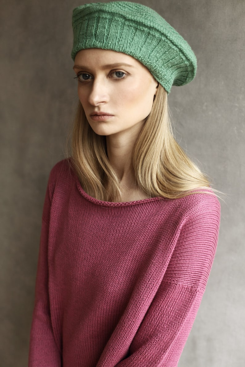 No Waste Wool Beret Sustainable /& Ethical Unique Slow Fashion Soft Vegan Yarn Handmade in the UK Hat