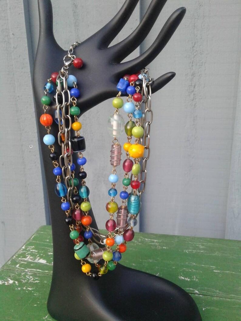 Vintage Beaded Multi Stranded Choker Necklace