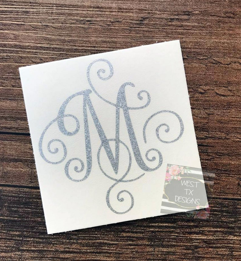 Glitter Decal  Tumbler Decal  Monogrammed Decal  Initial image 0