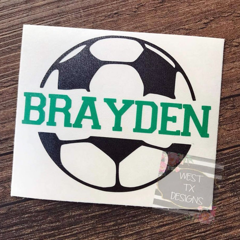 Soccer Decal  Personalized Soccer Ball  Soccer Sticker  image 0