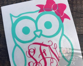 Owl Decal   Owl Monogram   Yeti Decal   Personalized Decal   Ozark Trail Decal   Corkcicle Decal   Swell Bottle Decal   Car Window Decal