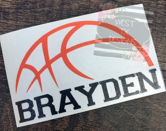 Basketball Decal | Personalized Basketball | Sports Decal | Basketball Sticker | Sports Sticker | Tumbler Decal | Water bottle Decal