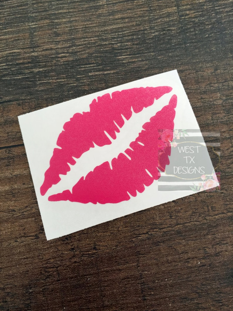 Lips Decal  Car Window Decal  Lip Decal  Kiss Decal  Smack image 0
