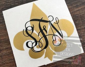 Fleur de Lis | Fleur de Lis Decal | Fleur de Lis Monogram | Monogrammed Decal | Louisiana Decal | Tumbler Decal | Car Window Decal