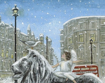 Christmas Greetings Cards - London Angel, pack of 5