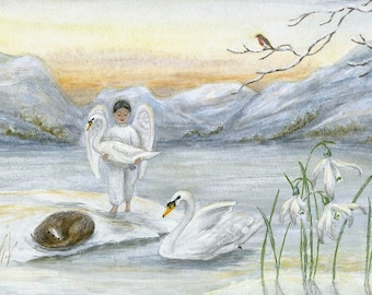 Christmas Greetings Cards - Angel & Swans, pack of 5
