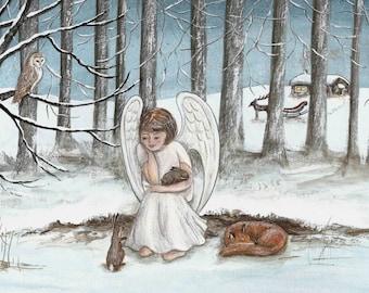 Christmas Greetings Cards - Angel & Fox, pack of 5