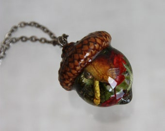 Natural accessory acorn hat and epoxy resin Micro world pendant dry herbs Acorn pendant are real red flowers of cactus Pendant terrarium
