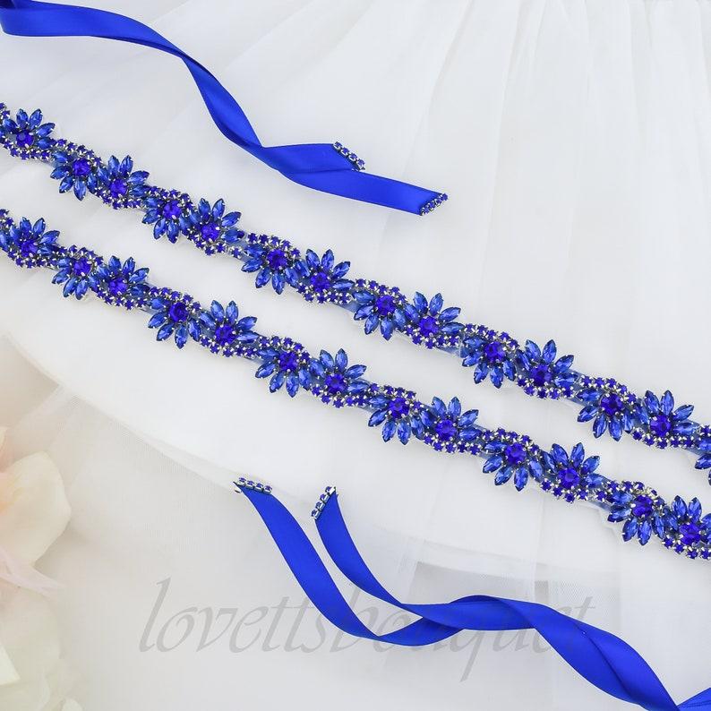 Flower Girl Sash Royal Blue Flower Girl Belt Crystal Rhinestone Blue Sash Belt B165BLUFG Royal Blue Sash Belt