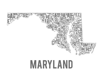 Maryland Typography Map Print-FREE SHIPPING