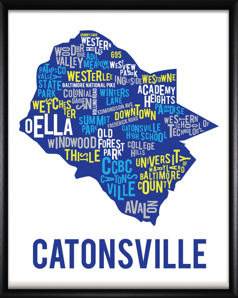 Catonsville Maryland Neighborhood Typography Map Art | Etsy on