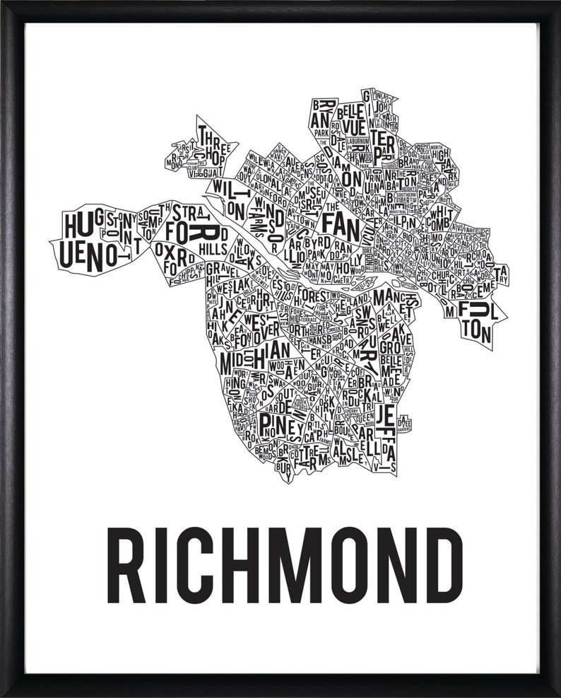 Richmond Virginia Neighborhood Typography Map Etsy