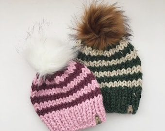 e2a6ca2a9b4 Choose your colors- Striped Knit Hat   Knitted Hat   Womens Winter Hat   Pom  pom Hat   Baby Hat   Newborn Hat   Faux Fur Pom Pom