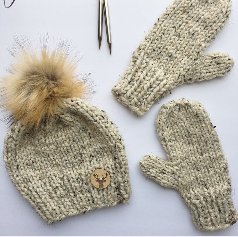 731701f4987 Hat and Mitten Set Knitted Hat Knitted Mittens Womens