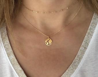 Globe necklace etsy dainty world map necklace gold globe necklace silver earth necklace minimalist layering jewelry wanderlust traveler graduation gift gumiabroncs Choice Image